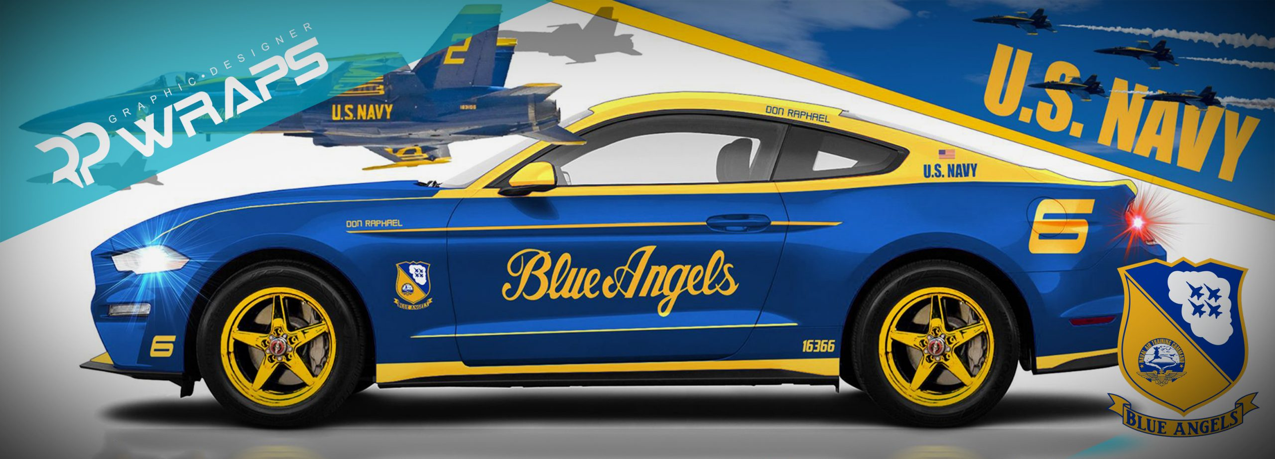 Mustang Blue Angels Wrap Raphael